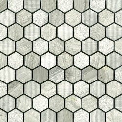 "*DRIFTWOOD WHITE/GREY 1"" HEX"